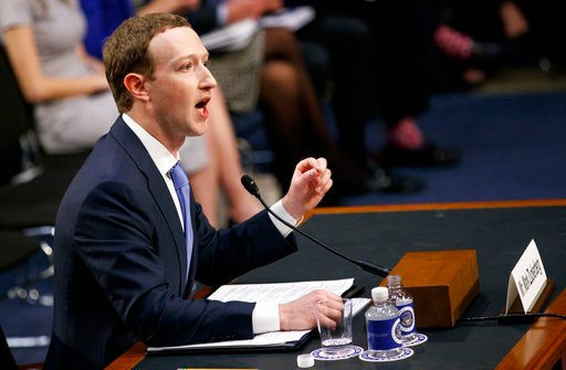 (AP Photo/Carolyn Kaster). Facebook CEO Mark Zuckerberg testifies before a joint hearing of the Commerce and Judiciary Committees on Capitol Hill in Washington, Tuesday, April 10, 2018, about the use of Facebook data to target American voters in the 20...
