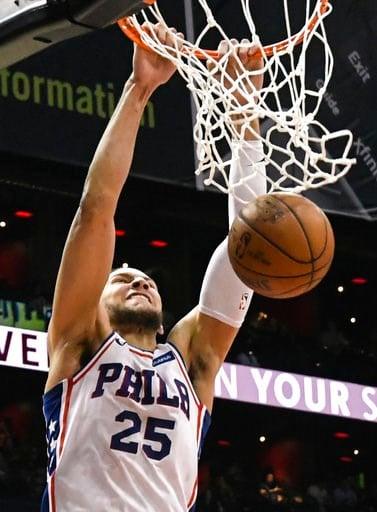 (AP Photo/John Amis). Philadelphia 76ers guard Ben Simmons dunks during the second half of an NBA basketball game against the the Atlanta Hawks Tuesday, April 10, 2018, in Atlanta. Philadelphia won 121-113.