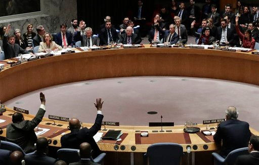 (AP Photo/Julie Jacobson). Members of the Security Council vote after presentations for a resolution drafted by the United States for an independent investigation on the use of chemical weapons in Syria during a Security Council meeting, Tuesday, April...