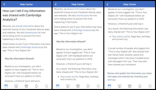 "(Facebook via AP). This combination of images made from an iPhone shows a notification on the Facebook app alerting the user that some of their data was likely shared with ""This Is Your on Digital Life,"" Wednesday, April 11, 2018, in New York."