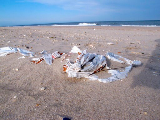 (AP Photo/Wayne Parry). In this April 6, 2018 photo trash lies on a beach in Point Pleasant Beach, N.J. On Thursday April 12, 2018, the Clean Ocean Action environmental group released the results of its annual beach sweeps program, in which nearly 374,...