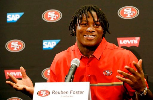 (AP Photo/Jeff Chiu, File). FILE -  In this April 28, 2017, file photo, San Francisco 49ers draft pick Reuben Foster answers questions at a news conference in Santa Clara, Calif. Authorities say San Francisco 49ers linebacker Reuben Foster has been cha...