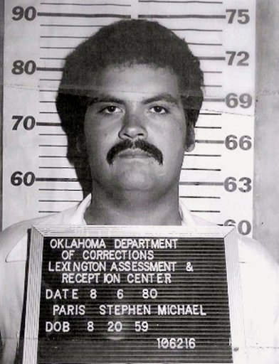 (Oklahoma Department of Corrections via AP). In this photo provided by the Oklahoma Department of Corrections, Stephen Michael Paris is pictured in a photo dated Aug. 6, 1980.