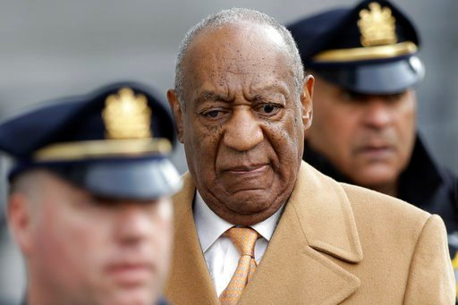 (AP Photo/Matt Slocum). Bill Cosby leaves his sexual assault trial for the day, Thursday, April 12, 2018, at the Montgomery County Courthouse in Norristown, Pa.