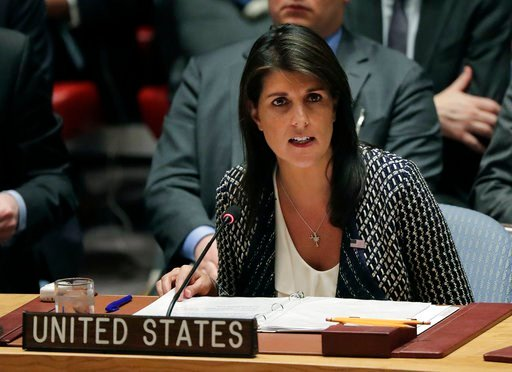 (AP Photo/Julie Jacobson). Nikki Haley, U.S. ambassador to the United Nations, speaks during a Security Council meeting, Friday, April 13, 2018, at United Nations headquarters.