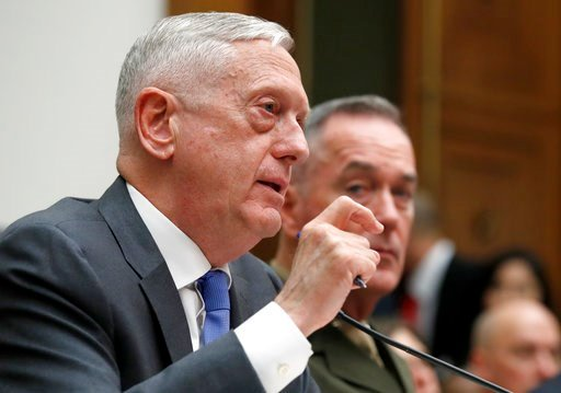 (AP Photo/Alex Brandon). Defense Secretary Jim Mattis, left, with Joint Chiefs Chairman Gen. Joseph Dunford, testify on the FY2019 budget during a hearing of the House Armed Services Committee on Capitol Hill, Thursday, April 12, 2018 in Washington.