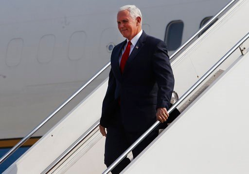 (AP Photo/Karel Navarro). U.S. Vice President Mike Pence arrives to Jorge Chavez international airport in Lima, Peru, Friday, April 13, 2018. Pence is in Lima to attend the Americas Summit.