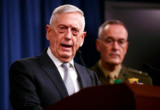 (AP Photo/Carolyn Kaster). Defense Secretary Jim Mattis, joined by Joint Chiefs Chairman Gen. Joseph Dunford, speaks at the Pentagon, Friday, April 13, 2018, on the U.S. military response, along with France and Britain, to Syria's chemical weapon attac...