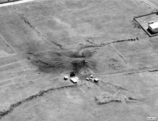 (Department of Defense via AP). This image provided by the Department of Defense was presented as part of a briefing slide at the Pentagon briefing on Saturday, April 14, 2018, and shows a photo of a preliminary damage assessment.