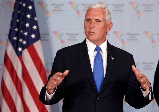 (AP Photo/Karel Navarro). U.S. Vice President Mike Pence speaks during a press conference at the Summit of the Americas in Lima, Peru, Saturday, April 14, 2018.