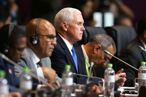 (AP Photo/Juan Pablo Azabache). U.S. Vice President Mike Pence attends the plenary session at the Americas Summit in Lima, Peru, Saturday, April 14, 2018.