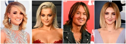 (AP Photo). This combination photo shows, from left, Carrie Underwood, Bebe Rexha, Keith Urban and Julia Michaels who will perform at the Academy of Country Music Awards on Sunday, April 15 in Las Vegas.