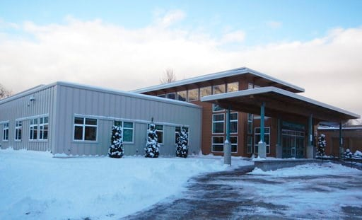 (Alaska State Department of Education and Early Development via AP). This November 2015 provided by the Alaska State Department of Education and Early Development shows Haines School, in Haines, Alaska. The high school gym at the school was named for K...