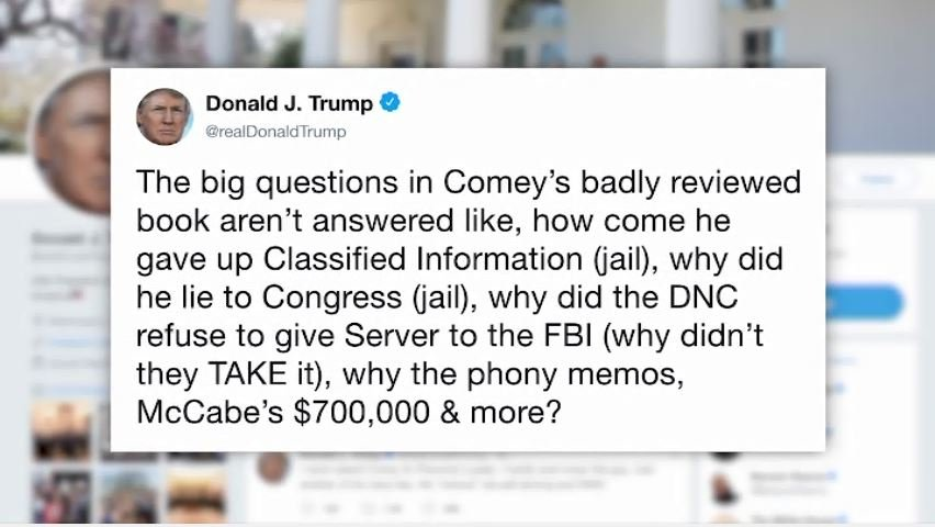 "Trump on Sunday pushed back again against Comey's claims that Trump sought his loyalty, saying, ""I hardly even knew this guy. Just another of his many lies."" (Source: Twitter)"