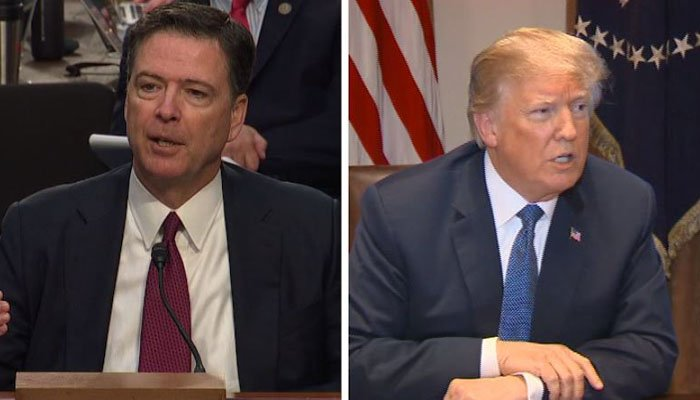 "Former FBI Director James Comey answered ""possibly"" when asked if the president was attempting to obstruct justice when he encouraged him to close the investigation into former White House national security adviser Michael Flynn. (Source: CNN/POOL)"
