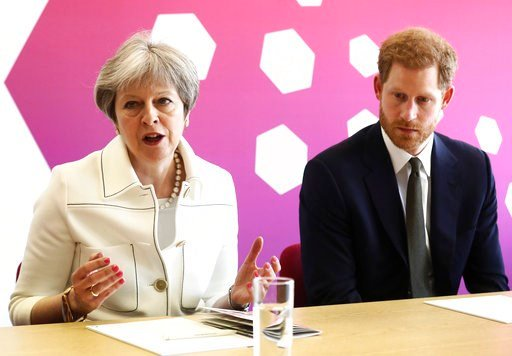 (Simon Dawson/Pool Photo via AP). Britain's Prince Harry, right and Prime Minister Theresa May attend a Commonwealth Heads of Government Meeting Youth Forum in London, Monday, April 16, 2018.