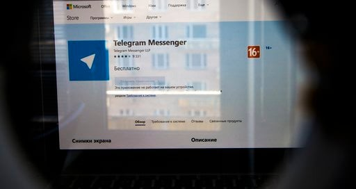 (AP Photo/Alexander Zemlianichenko). The website of the Telegram messaging app is seen on a computer's screen in Moscow, Russia, Friday, April 13, 2018. A Russian court has ordered the blocking of a popular messaging app following a demand by authoriti...