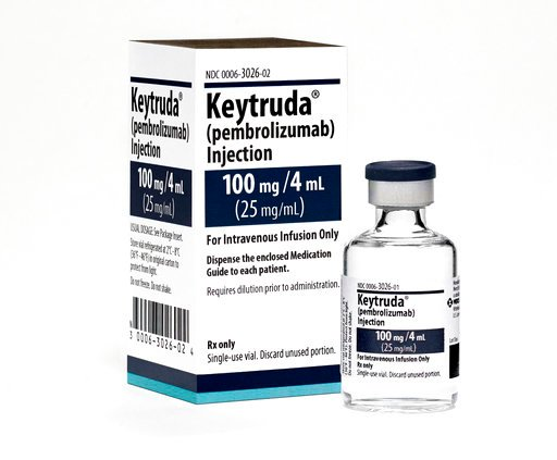 (Michael Lund/Merck via AP). This 2015 photo made available by Merck shows the drug Keytruda. Research released on Monday, April 16, 2018 suggests that many more lung cancer patients may benefit from treatments that boost the immune system, which have ...