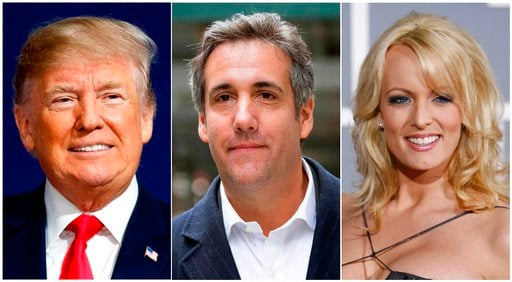 (AP Photo). This combination photo shows, from left, President Donald Trump, attorney Michael Cohen and adult film actress Stormy Daniels. Cohen has been ordered to appear  in federal court in New York, Monday, April 16, 2018, for arguments over last w...