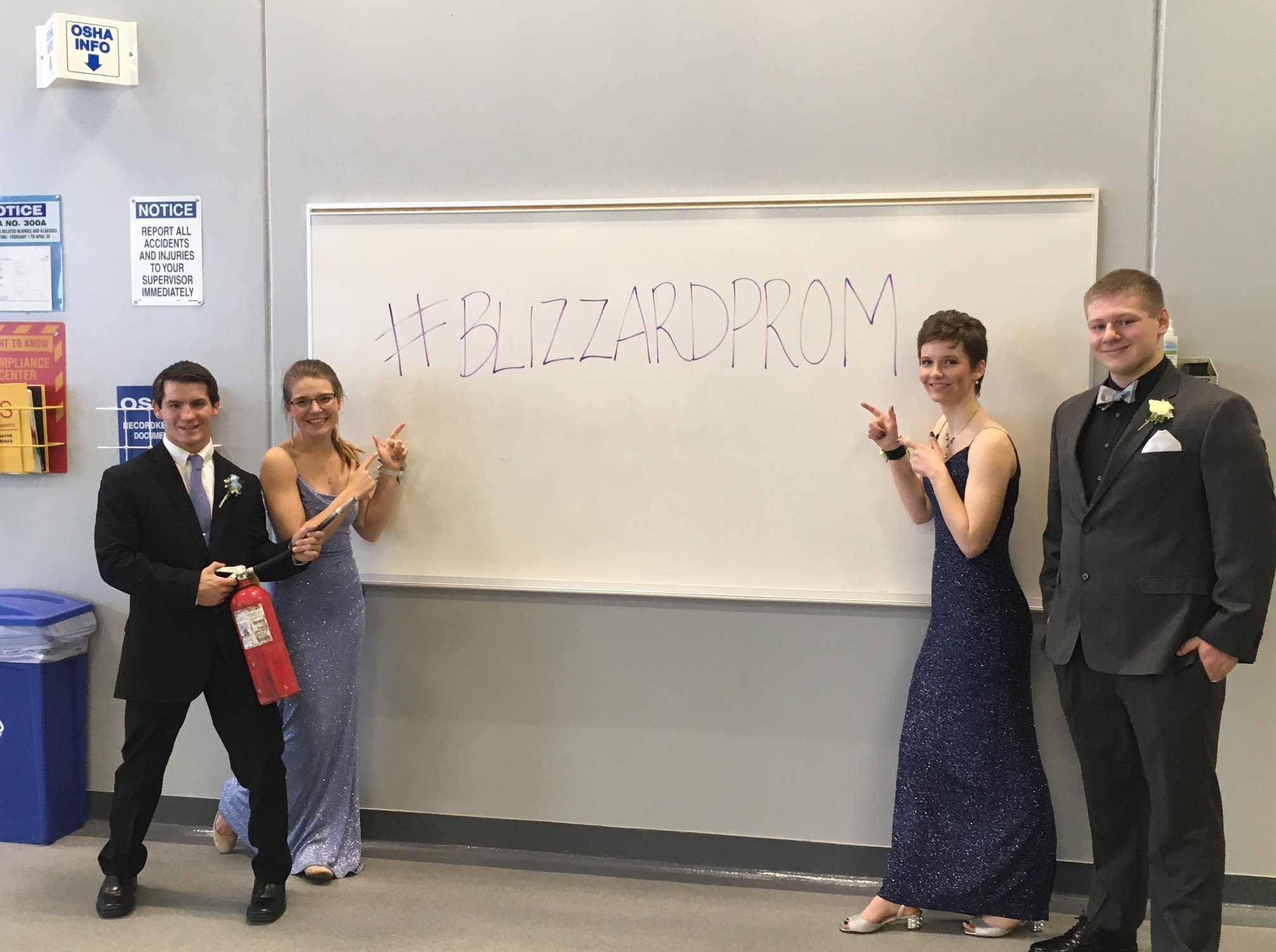With as much as 15 inches (38 centimeters) of snow in the forecast, the students couldn't take photos outside for what they called #BlizzardProm. (Source: Forest Lake Fire Department)