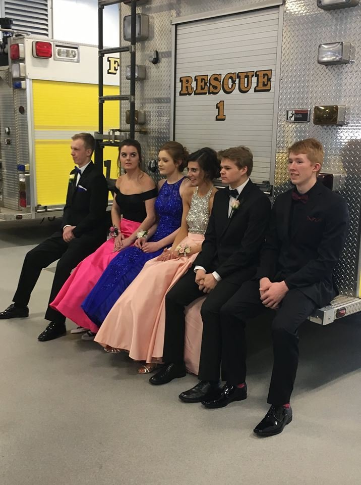 The Forest Lake Fire Department opened its firehouse for three hours on Saturday so the students could pose for prom pictures. (Source: Forest Lake Fire Department)