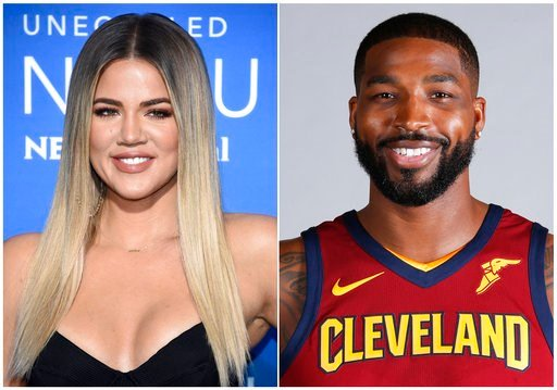 (AP Photo). This combination photo shows television personality Khloe Kardashian at the NBCUniversal Network 2017 Upfront at Radio City Music Hall in New York on May 15, 2017, left, and Cleveland Cavaliers' Tristan Thompson at the NBA basketball team m...