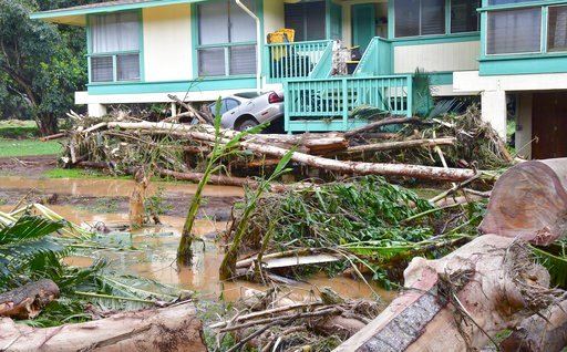 (Dennis Fujimoto/The Garden Island via AP). In this Sunday, morning, April 15, 2018 photo, a car is wedged between a house and debris in Anahola, Hawaii, after the Anahola River broke its banks in the pre-dawn hours and flooded the community downstream.