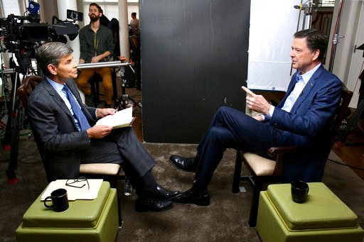 """(Ralph Alswang/ABC via AP). In this image released by ABC News, correspondent George Stephanopoulos, left, appears with former FBI director James Comey for a taped interview that will air during a primetime """"20/20"""" special on Sunday, April 15, 2018 on ..."""
