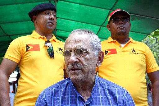 (AP Photo/Kandhi Barnez). In this Saturday, April 14, 2018, photo, Nobel peace prize laureate and former East Timorese President Jose Ramos-Horta talks to journalists in Dili, East Timor. Ramos-Horta waded back into the young country's politics ahead o...