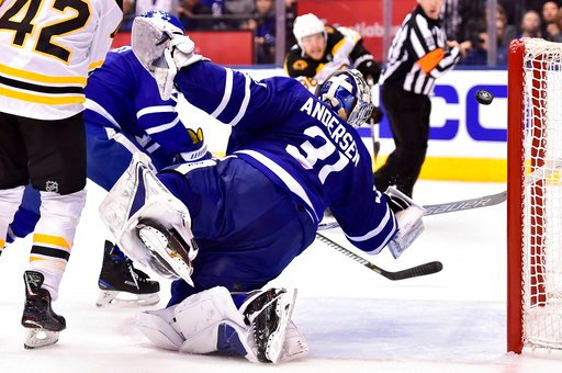 (Frank Gunn/The Canadian Press via AP). Toronto Maple Leafs goaltender Frederik Andersen (31) makes a big save during third period NHL round one playoff hockey action against the Boston Bruins in Toronto on Monday, April 16, 2018.