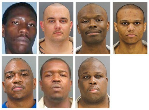 (South Carolina Department of Corrections via AP). These undated photos provided by the South Carolina Department of Corrections shows, from top row from left, Corey Scott, Eddie Casey Gaskins, Raymond Angelo Scott and Damonte Rivera; bottom row from l...