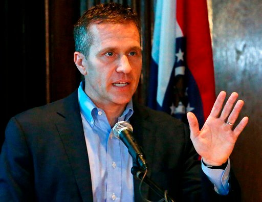 (J.B. Forbes/St. Louis Post-Dispatch via AP, File). In this April 11, 2018, file photo, Missouri Gov. Eric Greitens speaks at a news conference about allegations related to his extramarital affair with his hairdresser, in Jefferson City, Mo.