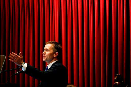 (AP Photo/Jeff Roberson). In this Jan. 10, 2018, photo, Missouri Gov. Eric Greitens delivers the annual State of the State address to a joint session of the House and Senate in Jefferson City, Mo.