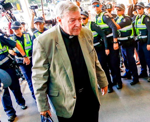 (AP Photo/Asanka Brendon Ratnayake, File). FILE - In this March 5, 2018, file photo, Cardinal George Pell arrives for a hearing at an Australian court in Melbourne, Australia. A lawyer for the most senior Vatican official ever charged in the Catholic C...