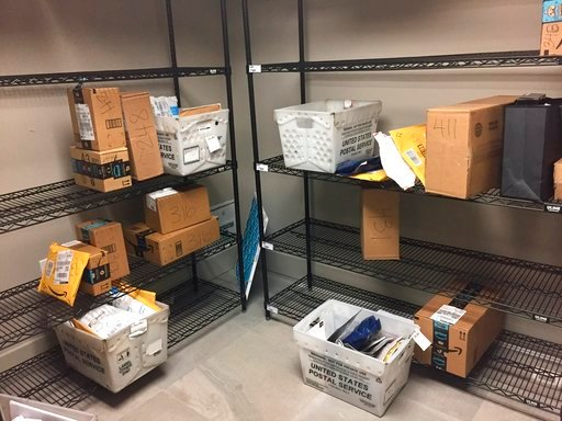 (AP Photo/Jessica Gresko). In this April 13, 2018, photo, packages from Internet retailers are delivered with the U.S. Mail in a apartment building mail room in Washington.