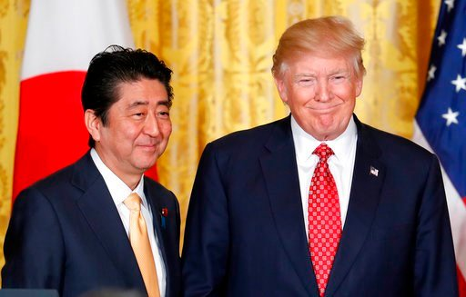 (AP Photo/Pablo Martinez Monsivais, File). FILE - In this Feb. 10, 2017, file photo, U.S. President Donald Trump, right, and Japanese Prime Minister Shinzo Abe stand on stage together at the conclusion of their joint news conference in the East Room of...