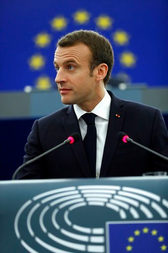 (AP Photo/ Jean Francois Badias). French President Emmanuel Macron delivers his speech at the European Parliament in Strasbourg, eastern France, Tuesday, April 17, 2018. Macron is expected to outline his vision for the future of Europe to push for deep...