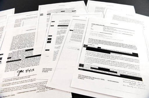 (AP Photo/Susan Walsh). Copies of the memos written by former FBI Director James Comey are photographed in Washington, Thursday, April 19, 2018. President Donald Trump told former FBI Director James Comey that he had serious concerns about the judgment...