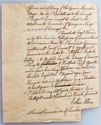 (Margaret Staudter/Fort Ticonderoga via AP). This 2018 photo provided by Fort Ticonderoga shows an original letter Ethan Allen sent to the governor of Connecticut on May 12, 1775, at Fort Ticonderoga, in Ticonderoga, N.Y. The letter, dated two days aft...
