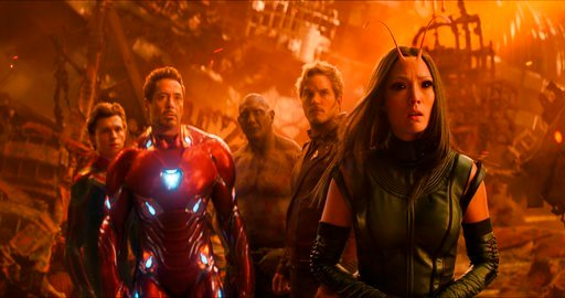 """(Marvel Studios via AP, File). FILE - This file image released by Marvel Studios shows, from left, Tom Holland, Robert Downey Jr., Dave Bautista, Chris Pratt and Pom Klementieff in a scene from """"Avengers: Infinity War."""" In its second weekend in theater..."""