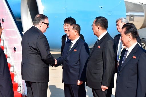 (AP Photo/Matthew Lee, Pool). U.S. Secretary of State Mike Pompeo is greeted by senior North Korean official Kim Yong Chul, director of the United Front Department, which is responsible for North-South Korea affairs (left), and Foreign Minister Ri Su Y...