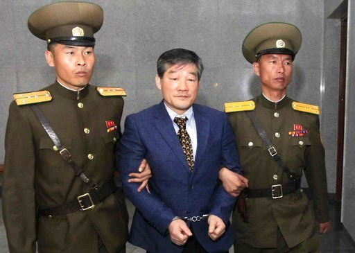 (AP Photo/Kim Kwang Hyon, File). FILE - In this April 29, 2016, file photo, Kim Dong Chul, center, a U.S. citizen detained in North Korea, is escorted to his trial in Pyongyang, North Korea. U.S. Secretary of State Mike Pompeo has left North Korea with...
