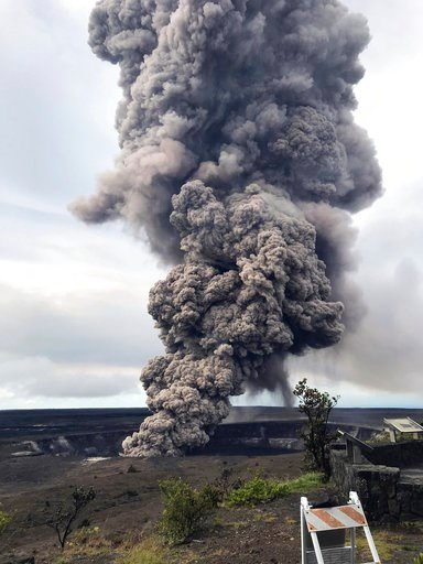 (U.S. Geological Survey via AP). This photo provided by the U.S. Geological Survey shows an ash column rising from the overlook at Halema'uma'u Crater at the summit of Kilauea Volcano in Hawaii Volcanoes National Park on the island of Hawaii at 8:29 a....