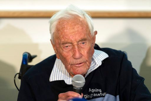 (Georgios Kefalas/Keystone via AP). 104-year-old Australian scientist David Goodall speaks during a press conference a day before his assisted suicide in Basel, Switzerland, on Wednesday, May 9, 2018.