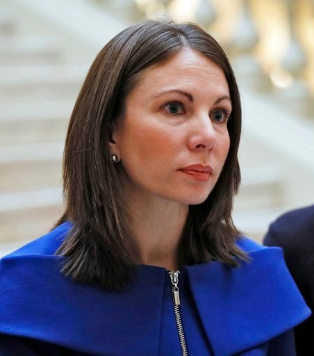 (Bob Andres/Atlanta Journal-Constitution via AP, File)   /Atlanta Journal-Constitution via AP). FILE - In this March 5, 2018, file photo, Stacey Evans answers questions after she qualified for the governors race in Atlanta.  Evans and Stacey Abrams are...