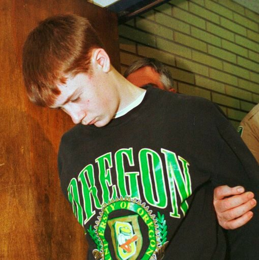 (AP Photo/Don Ryan, file). FILE - In this May 22, 1998, file photo, Thurston High School student Kip Kinkel, 15, is led to his arraignment in Eugene, Ore. Kinkel has lost an appeal to the Oregon Supreme Court, Thursday, May 10, 2018, where he had sough...