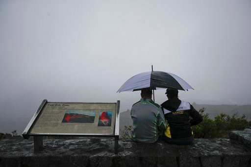 (AP Photo/Jae C. Hong). A couple sits on the edge of the Jaggar Museum's overlook to view Kilauea's summit crater in Volcanoes National Park, Hawaii, Thursday, May 10, 2018. The park is closing Friday due to the threat of an explosive volcanic eruption.