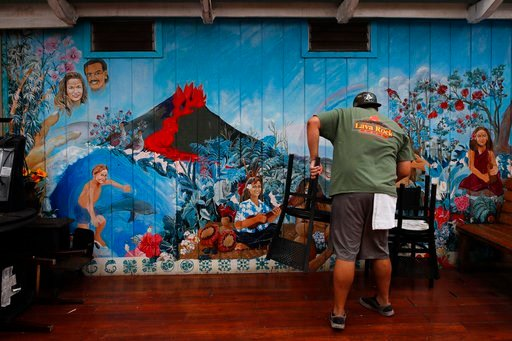 (AP Photo/Jae C. Hong). Restaurant worker William Kauhane, 20, moves chairs at Lava Rock Cafe in Volcano, Hawaii Thursday, May 10, 2018. The village is located on the border of Hawaii Volcanoes National Park, just a few miles east of Kilauea's summit c...