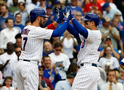 (AP Photo/Nam Y. Huh). Chicago Cubs' Anthony Rizzo, right, celebrates with Kris Bryant after hitting a three-run home run against the Miami Marlins in the third inning of a baseball game Wednesday, May 9, 2018, in Chicago.