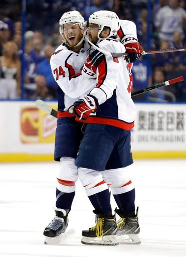 (AP Photo/Chris O'Meara). Washington Capitals left wing Alex Ovechkin (8) celebrates his goal against the Tampa Bay Lightning with defenseman John Carlson (74) during the first period of Game 1 of an NHL Eastern Conference final hockey playoff series F...